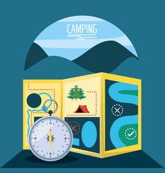 Camping zone with map and compass vector