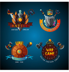 cartoon antique shields collection video game vector image