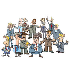 cartoon businessmen or managers group vector image