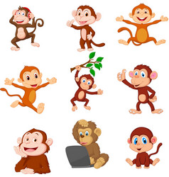 cartoon happy monkeys collection set vector image