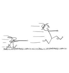 Cartoon man or hunter running in fear away and vector