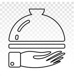 Catering service line art icon with waiter hand vector