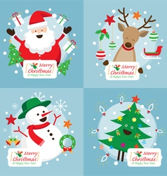 Christmas Characters with Decoration Set vector image