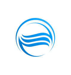 circle waves water in blue color logo template vector image