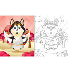 Coloring book for kids with a cute husky dog vector