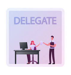 Company boss character giving task to business vector