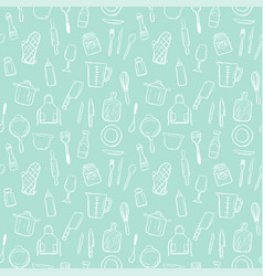 cooking tools seamless pattern background set vector image