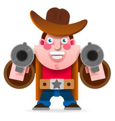 cowboy with two guns in a wild west cape vector image