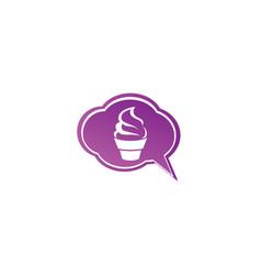creamy cupcake kuchen for logo design muffin vector image