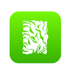 crumpled paper icon digital green vector image