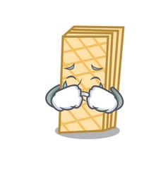 Crying waffle mascot cartoon style vector