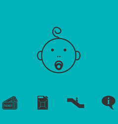 cute baby with pacifier icon flat vector image