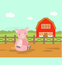 cute pig farm animal rural landscape with wooden vector image
