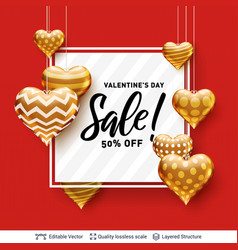 editable sale text and golden hearts on red vector image