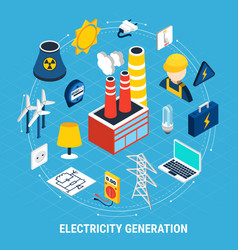 electricity isometric and round composition vector image