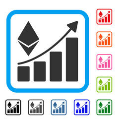ethereum growth trend framed icon vector image