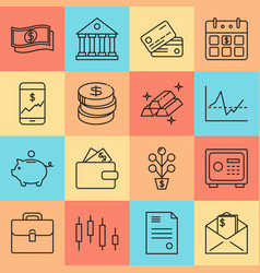 Finance and money icon set in thin line style vector