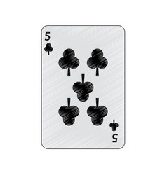 Five of clover or clubs french playing cards vector