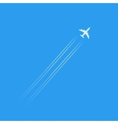 flying plane silhouette isolated in blue sky vector image