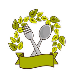 Fork and spoon kitchen tools with leaves and vector