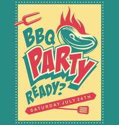 funky design concept for barbecue party vector image