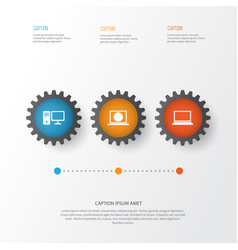 Gadget icons set collection of web laptop vector