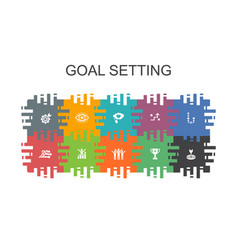 Goal setting cartoon template with flat elements vector