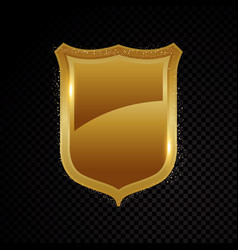 Gold brightly shield glowing security protection vector