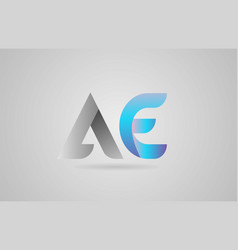 Grey blue alphabet letter ae a e logo icon design vector