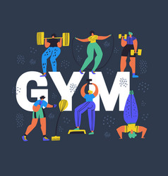 Gym fitness club hand drawn word concept banner vector