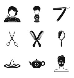 Hairdo icons set simple style vector