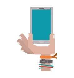 hand holding cellphone with watch and bracelet vector image