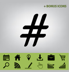 Hashtag sign black icon at vector