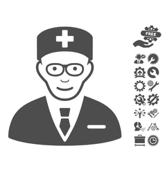 Head Physician Icon With Tools Bonus vector