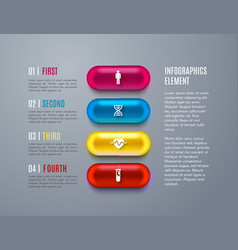 healthcare infographic with step chart capsules vector image