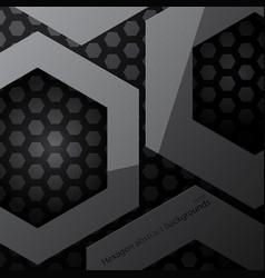 Hexagon metal shape scene vector