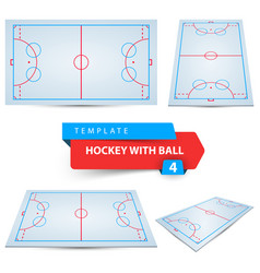 hockey with ball four items template vector image
