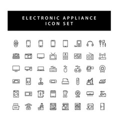 Home appliances electronic icon set with black vector