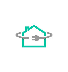 house plug power symbol logo vector image