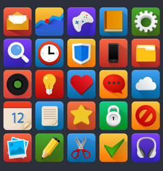 Icon set multimedia mobile software vector
