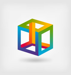 impossible cube multicolor abstract symbol vector image