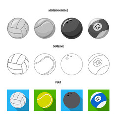 Isolated object of sport and ball sign collection vector