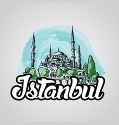 Istanbul hand drawn sketch blue mosque vector