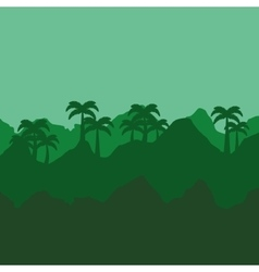 Jungle tropical landscape icon vector