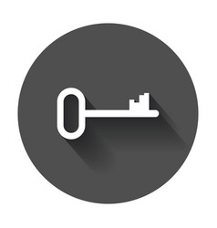 Key icon flat with long shadow vector