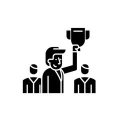 leader black icon sign on isolated vector image