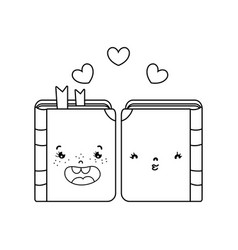 Line kawaii couple book together with hearts vector