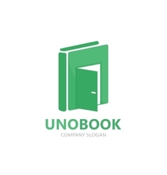Logo combination of a book and door vector