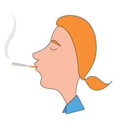 man smoking cigar on white background vector image