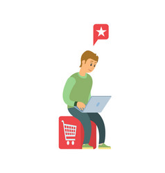 man with laptop do shopping in internet isolated vector image